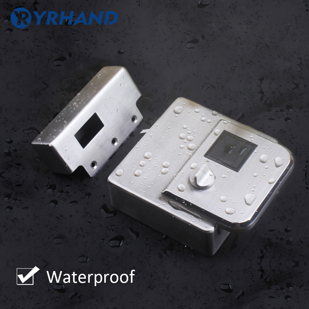 Waterproof Fingerint Electronic Door Lock IC card double side Access reader lock For Metal gate lock