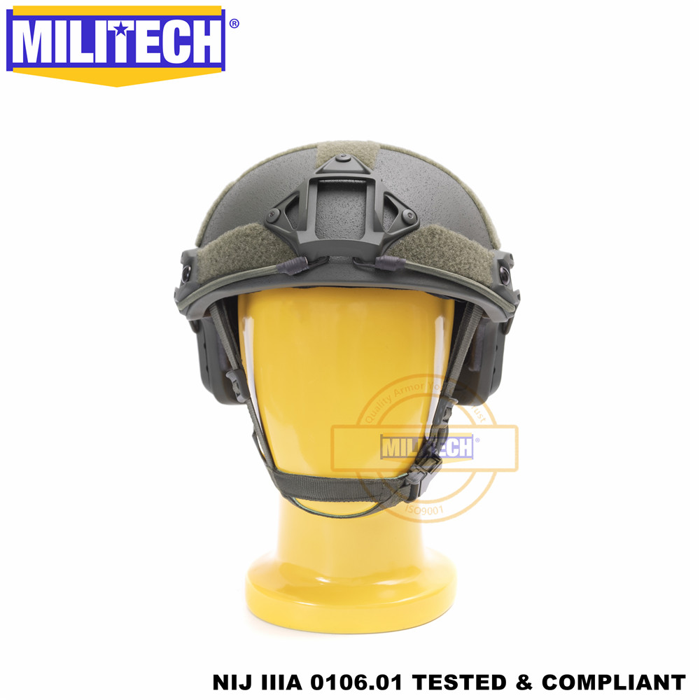 MILITECH Ballistic Helmet FAST OD Deluxe Worm Dial NIJ Level IIIA 3A High Cut Twaron Bulletproof Helmet With 5 Years Warranty