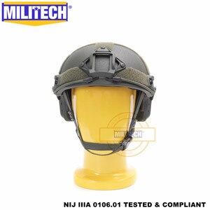 Image 1 - MILITECH balistycznych kask szybkie OD typu Deluxe robak Dial poziom NIJ IIIA 3A wysokie cięcie Twaron kuloodporne kask z 5 lat gwarancji