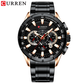 CURREN New Causal Sport Chronograph Men's Watches Stainless Steel Band Wristwatch Big Dial Quartz Clock with Luminous Pointers 9