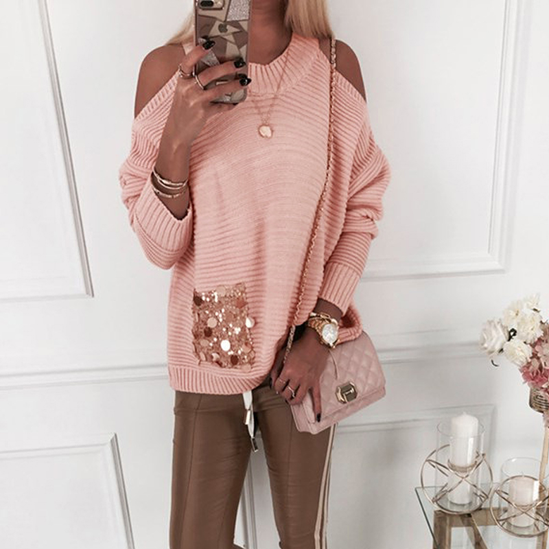 Elegant Off Shoulder Knitted Tops Women Autumn Sequins Packet Casual Loose Pull Jumpers Pink Khaki White Female Sweaters 2020
