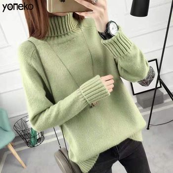 2020 Autumn Winter Fashion Women Turtleneck Sweater Women Sweaters And Pullovers Female Solid Color Knitted Sweater Women Tops turtleneck fashion patchwork knitted sweater women pullovers contrast color streetwear sweaters tops autumn winter pull femme
