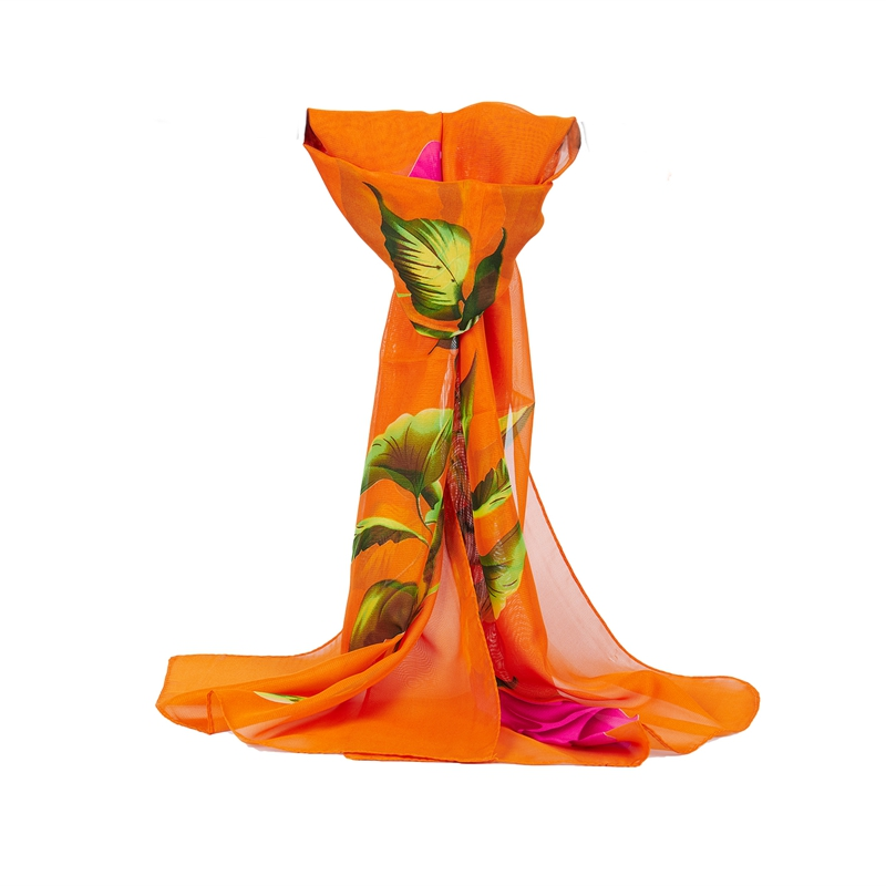 Women Scarves, Fashion Women Rose Flower Long Soft Wrap Scarf Ladies Shawl Chiffon Scarf Stoles (Orange)