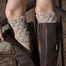 1 пара зимние теплые носки короткие утепленные бамбуковые тканые с цветочным узором рождественские носки гетры женские уличные теплые носк...