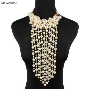 New Arrival prawdziwe eleganckie perły Tassel Bridal bolerka szale 2021 formalne kobiety Ups kurtki ślubne akcesoria ślubne w magazynie tanie i dobre opinie NIXUANYUAN POLIESTER Adult Z paciorkami 1104-2204 16inch (tail chain 7cm)