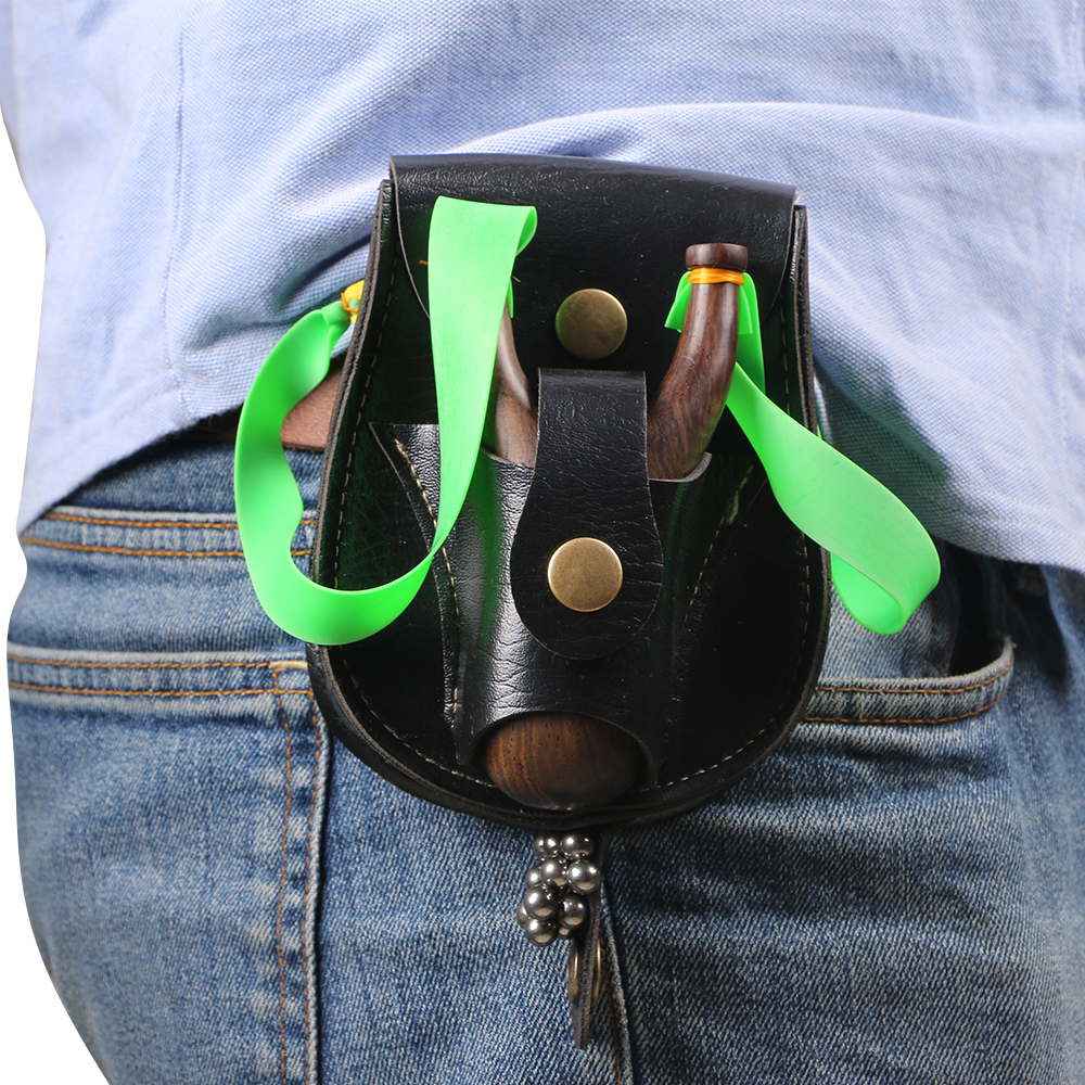 Slingshot Ammo Pouch, Catapult Leather Hunting Holder For Slingshot Stainless Steel Bag Case