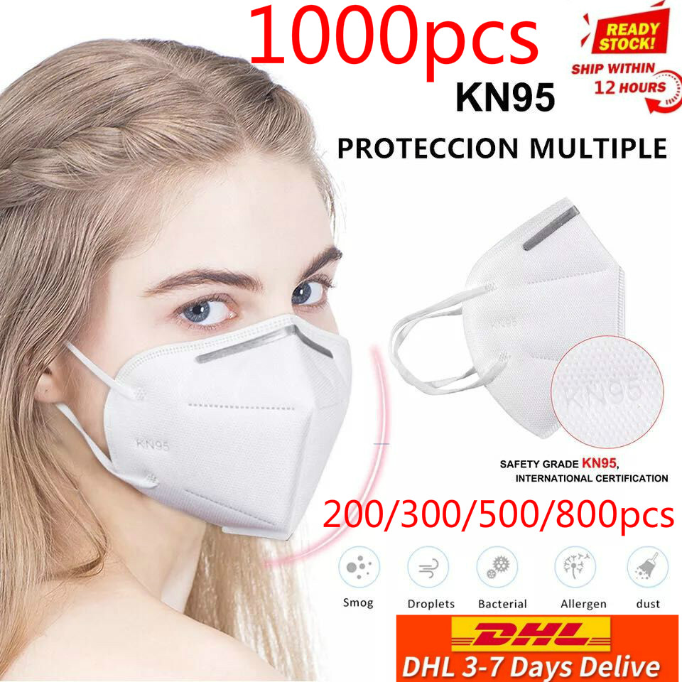 Dhl Free 100/200/500/800/1000pcs Mask Safety Respirator Protective Mask Face KN95Masks Mouth Dustproof Reuseable