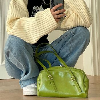 Winter Fashion Women Green Big Shoulder Bags PU Leather Female Purse Handbags Large Capacity Ladies Daily Small Casual Tote