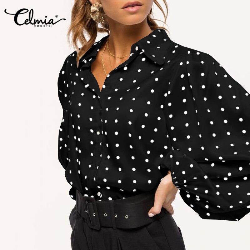 Celmia Fashion Blouses Women Polka Dot Lantern Sleeve Shirts Lapel Button Casual Loose Elegant OL Office Blusas Plus Size Tops