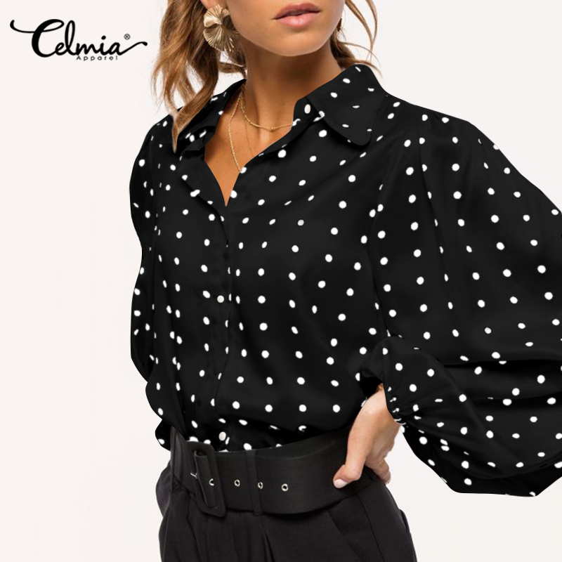 Celmia Fashion Blouses Women Polka Dot Lantern Sleeve Shirts Lapel Button Casual Loose Elegant OL Office Blusas Plus Size Tops