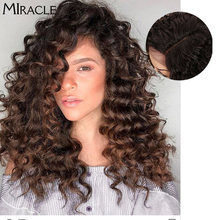 Синтетические афро кудрявые кружевные передние парики для черных