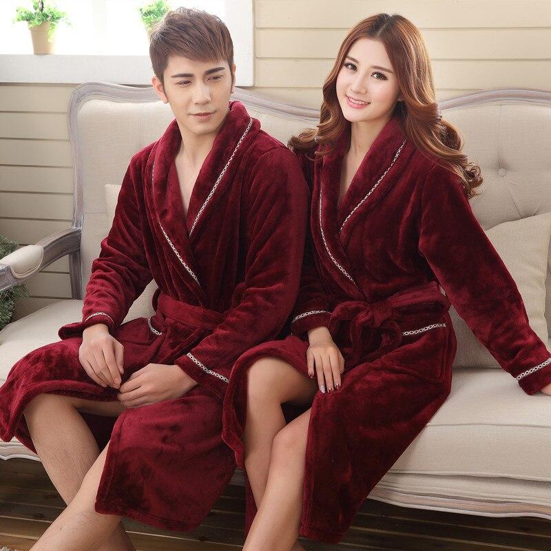 Men Women Couple Winter Fleece Kimono Bathrobe Flannel Long Robe Sleepwear