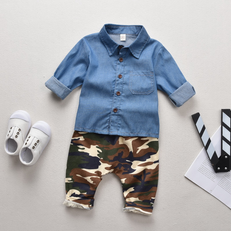 2019 Fashion Boys Clothes Kids Clothes Set 2Pcs Denim Button Tops Camouflage trousers Toddler Boy Clothes roupa infantil D30 in Clothing Sets from Mother Kids