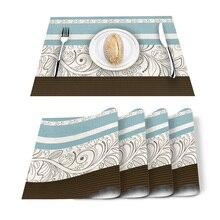 Mantel de lino de algodón lavable con salvamanteles azules con patrón de flores Vintage mantel de lino mantel rectangular resistente al calor
