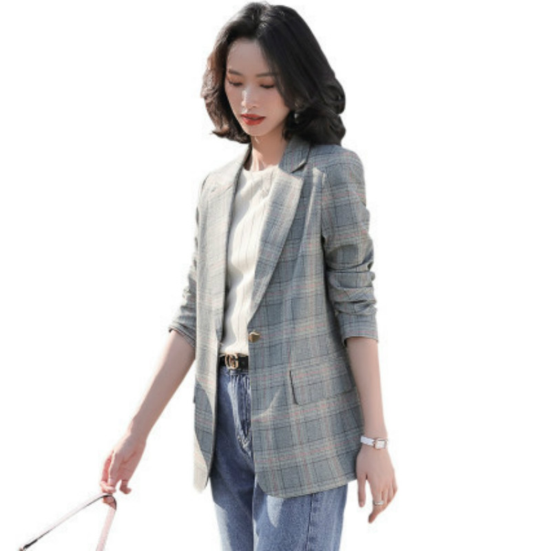 2020 new high quality ladies jacket small suit Spring and summer casual check women's blazer Fashion long sleeve coat