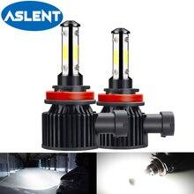 Ampoules de phares de voiture, 2x 14400LM H4 LED H7 360 4 côtés LED H11 H8 H9 9005 HB3 9006 HB4 9012 HIR2 6500K 12V