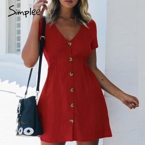 Image 3 - Simplee Plus Size Nữ Váy Đầm Nút Cao Cấp Ngắn Tay Mùa Hè Chắc Chắn Dạo Phố Đi Biển Gợi Cảm Đầm Công Sở 2020