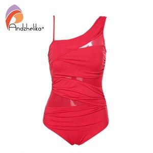 Image 5 - Andzhelika Một Mảnh Sexy 1 Vai Đầm Lệch Vai Lưới Miếng Dán Cường Lực Đồ Bơi Áo Tắm Monokini