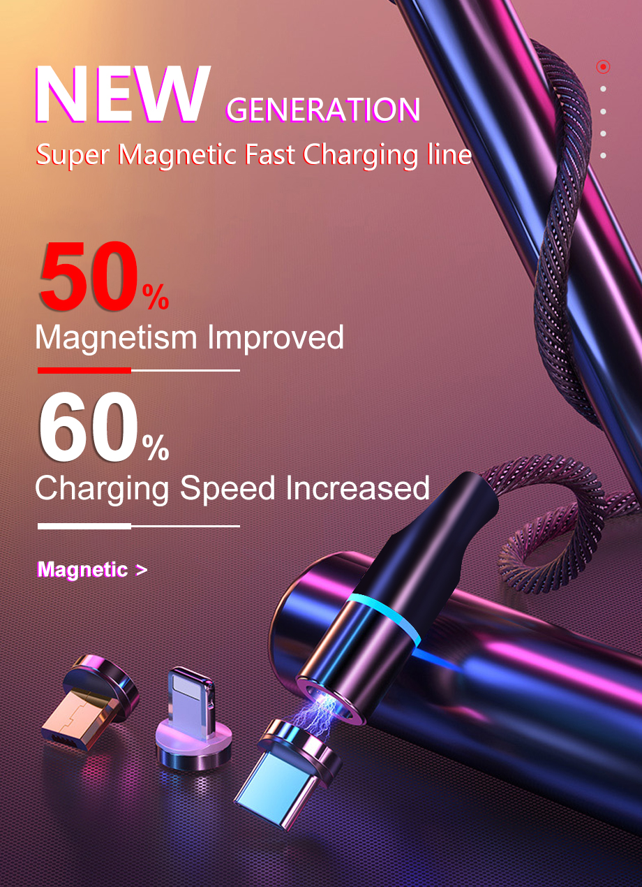 Magnetic charge Cable For iPhone Samsung Android Fast Charging Magnet Charger Micro USB Type C Cable Mobile Phone Cord Wire