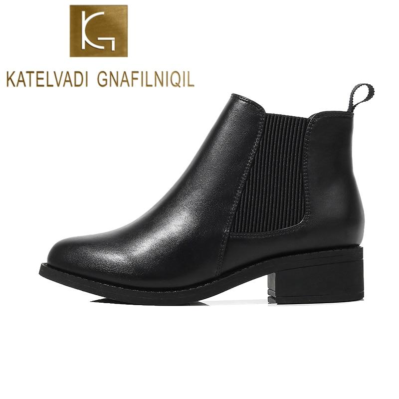 KATELVADI New Arrival Fashion Shoes Women Boots PU Leather Warm Plush Ankle Round Toe 4CM Heel  K-527