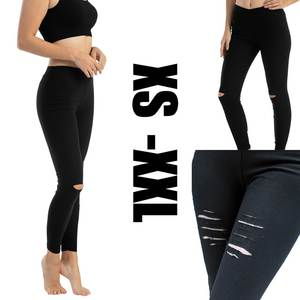 Jeans Denim Pants Black High-Waist Women Stretch Skinny Summer Hole for with Destroyed