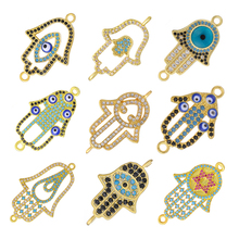 Juya DIY Handmade Turkish Jewelry Making Components Supplies Micro Pave Zircon Greek Evil Eye Hamsa Fatima Hand Charm Connectors