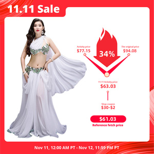 Image 1 - חדש נשים ריקוד תחרות תלבושות 3 חתיכה סט ריקוד מזרחי ביצועים להראות ללבוש בלינג בלינג מקסימום חיצוני פנל אדום לבן