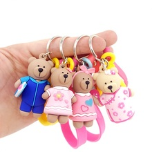 2019 Creative Cartoon Bear Key chain Cute Animal Bear Pendant Keychains Woman PVC Silicone Doll Key Ring Bag Car Gifts цена и фото