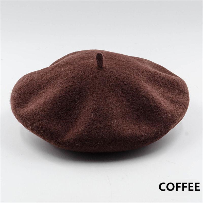 Винтажный простой берет, шапка бини, шапка во французском стиле для женщин и девочек, шерстяная теплая зимняя шапка, женские шапки, шапка уличной моды - Цвет: Coffee