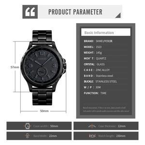 Image 5 - SKMEI Fashion Men Watches Top Brand Luxury Quartz Watch Men Waterproof IP Black Stainless Steel Plating relogio masculino 1513