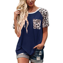 High Quality Leopard Pocket Womens Tee Short Sleeve Crop Top V-neck Club Party T Shirts