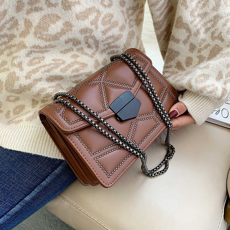 Small Crossbody Bags For Women 2020 Small Shoulder Messenger Bag Female Luxury Rivet Chain Handbags Ladies Cross Body Bag Black