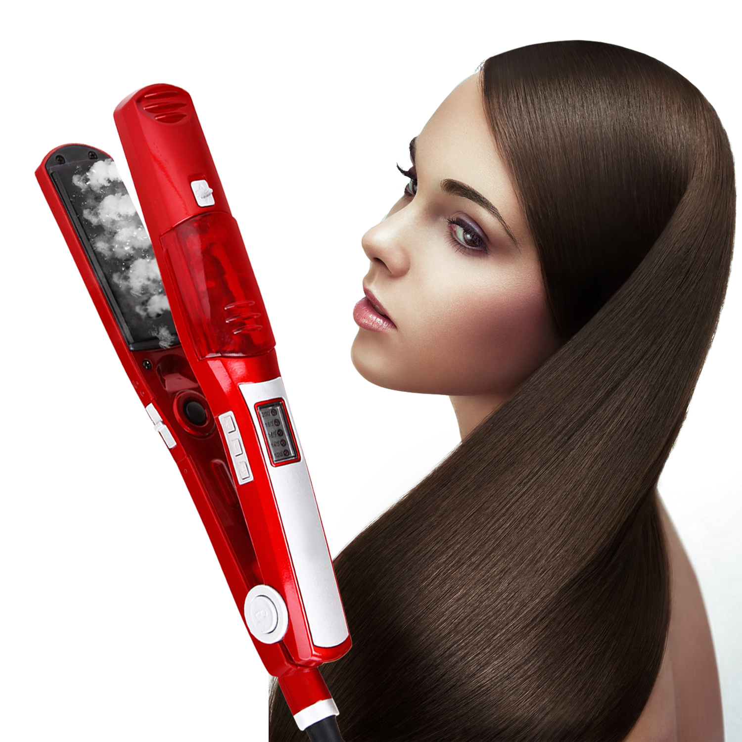 Professional Argan Oil Steam Hair Straightener Flat Iron Injection Painting 450F Straightening Irons Hair Care Styling Tools image
