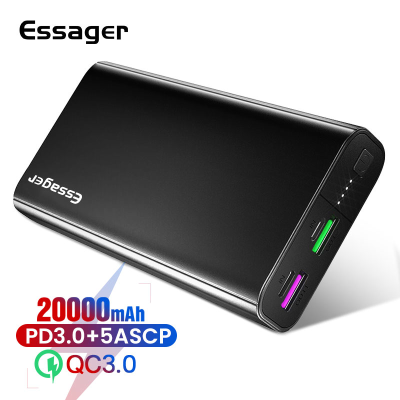 Essager 20000mAh Power Bank PD QC 3.0 Fast Charge Portable Powerbank 20000 MAh External Battery Charger For Xiaomi IPhone Huawei