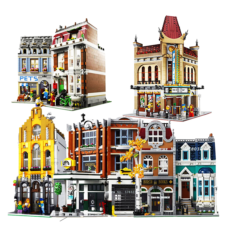 IN Stock Lepinblocks Creator City 15003 15004 15005 15042 15037 Building Blocks Compatible 10224 10197 10211 Toys For Children
