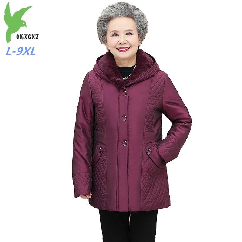 2019 Winter Plus Size L-9XL Down Jacket Elderly Women Thicken White Duck Down Coats Fur Collar Hooded Parka Female Oversize G678
