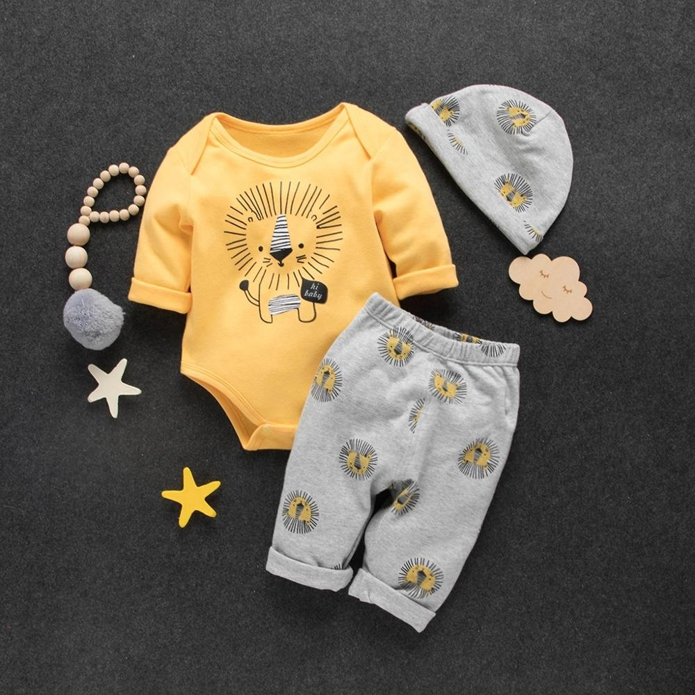 Spring Autumn And Winter Cotton Casual Newborn 3 Piece Set Baby / Toddler Cute Lion Print Bodysuit, Pants And Hat Suit Crawler