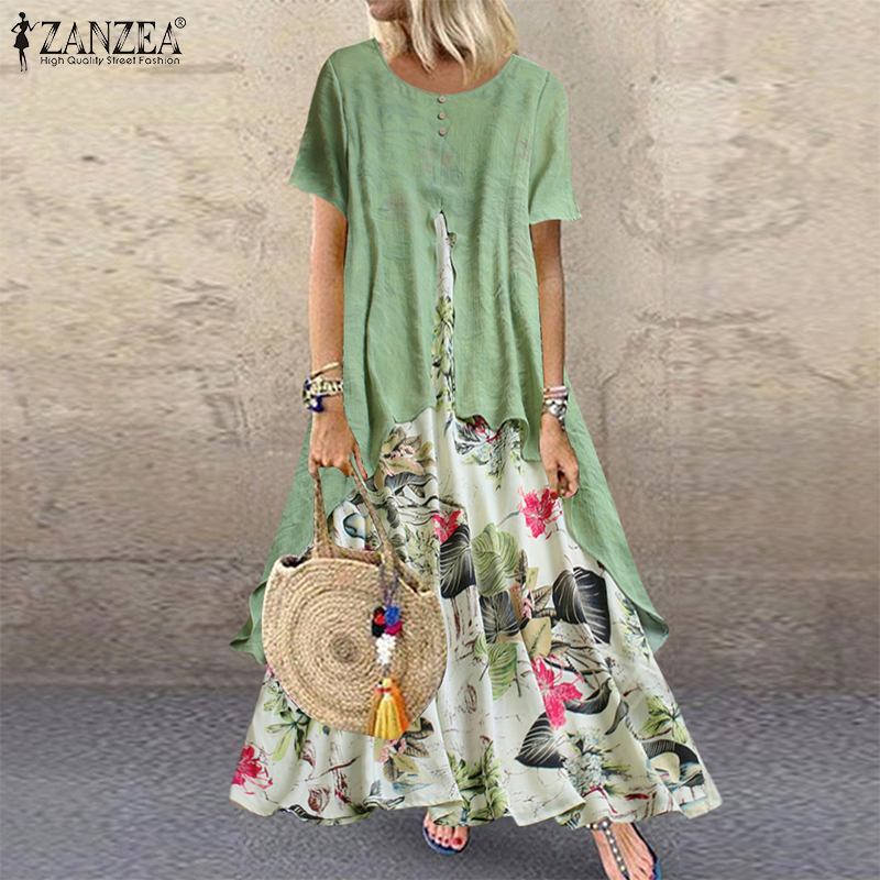 Summer Vintage Floral Printed Patchwork Dress ZANZEA 2019 Women Party Sundress Casual Short Sleeve Long Maxi Vestido Femme Robe