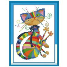 Красочный Кот DIY ручной работы Рукоделие Счетный 14CT Печатный Вышивка крестом комплект с вышивкой украшение дома