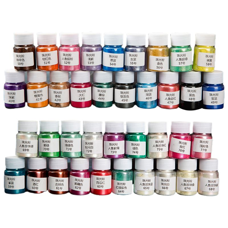 38Bottles Cosmetic Grade Pearlescent Mica Powder Epoxy Resin Dye Pearl Pigment DIY Jewelry Crafts Making Accessories