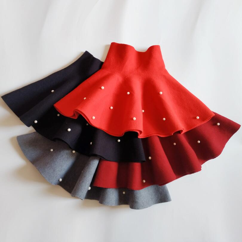 Fall Winter Baby Toddler Bottoms School Girls Knitted Skirt Princess Pearls Dance Party Skirts For Kids Children Clothes JW6492