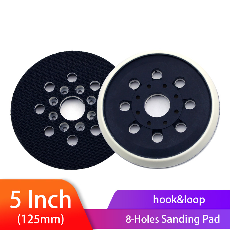 5 Inch 125 Mm 8/17 Holes Backing Pad Hoop & Loop Sanding Pads Dust Free For Sanding Disc Holder Electric Power Sander Pad