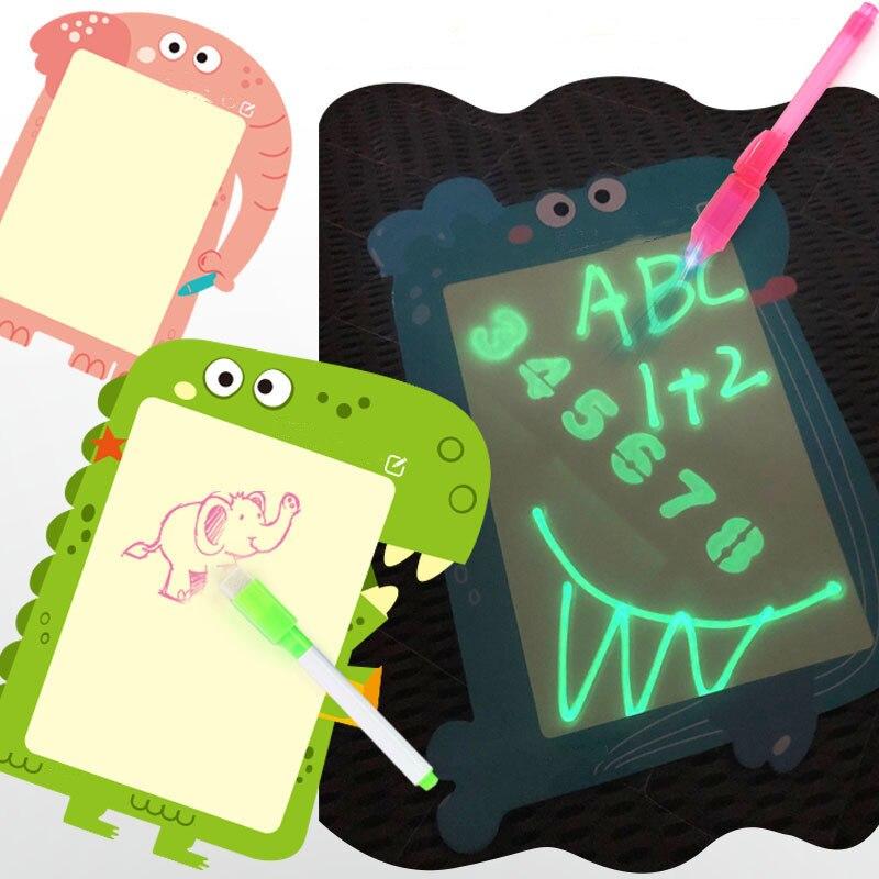 3D 2In1 Magic Luminous Drawing Board Graffiti Children Doodle Drawing Tablet Pad With Light Fun Message Writing Board Blackboard