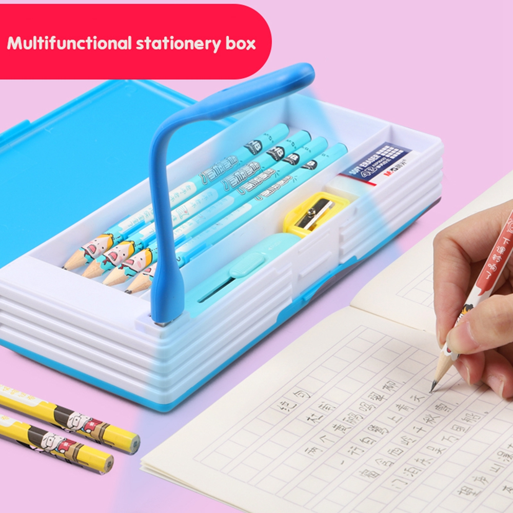 2020 New Creative Multifunctional Pencil Case With Led Light Usb Mini Fan Student Stationery Box Korean Pencil Case Boy And Girl