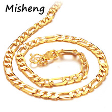 Misheng Gold Mens Temperament Twist Necklace Interval Geometry Copper Figaro Chain Simple Fashion Jewelry Gift