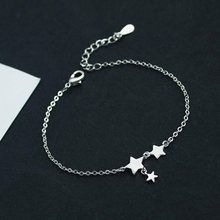 New Fashion Three Stars Pendant Anklets Bracelet 925 Sterling Silver Simple Charm Star Ankle Chain For Women&Girl Jewelry Gift lindajoux 925 sterling silver fashion sea star charm anklet for women s925 ankle bracelet adjustable length