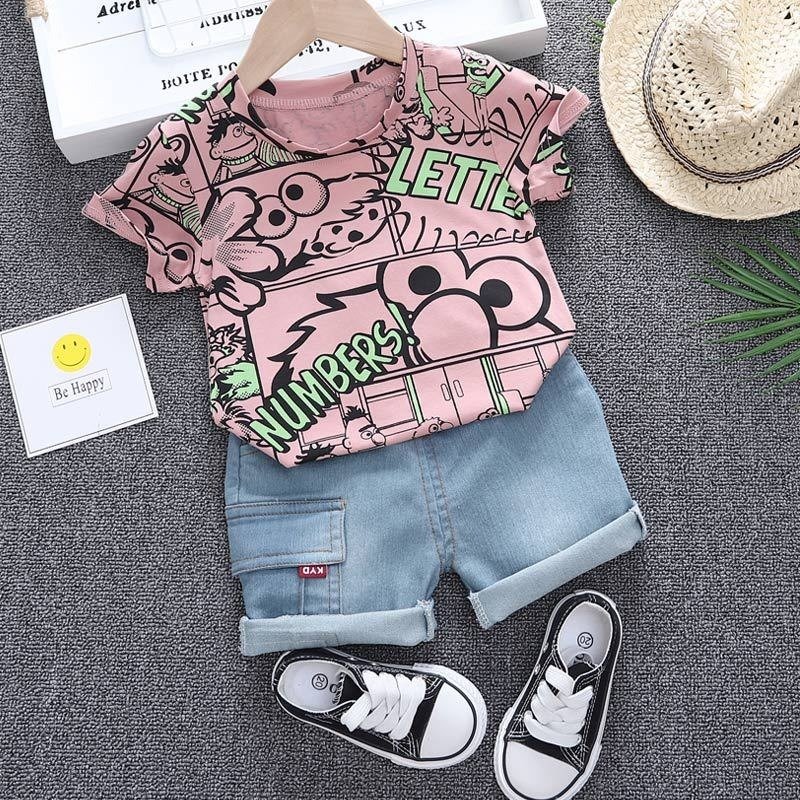Boys Summer Clothing 2021 New O-neck T-shirt with Denim Shorts 2 Pieces Short-sleeved Sets Children Baby Summer Graffiti Clothes 1