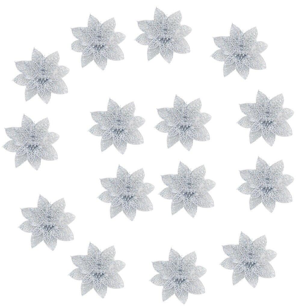15 шт./компл. Рождественские цветы деревья Рождественский Декор Блеск СР День рождения 8 см Бытовая; Новые поступления; Лидер продаж, Прямая поставка - Цвет: Silver