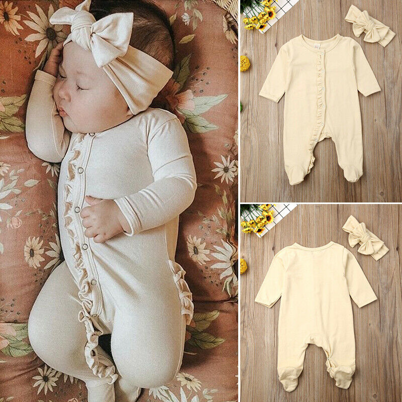 0-12M Newborn Baby Boy Girl Footies Jumpsuit Long Sleeve Cotton Comfortable Ruffled Solid Infant Clothes