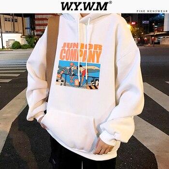 WYWM, ropa de calle para hombres, sudaderas con capucha sueltas de primavera 2020, jerséis con cuello ovalado suaves coreanos, camisetas de M-XXL para hombres, Camisetas estampadas a la moda en 4 colores